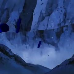 Einige schwarze Zahnräder brechen aus dem Berg hervor.