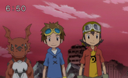 Takuya, takato y guilmon en digimon xros wars