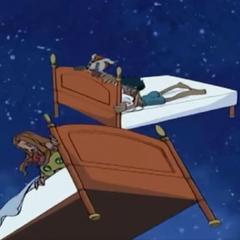 Devimon lässt die Betten durch die Luft fliegen...