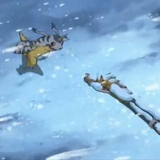Gabumon findet Matt reglos im Schnee liegend vor.