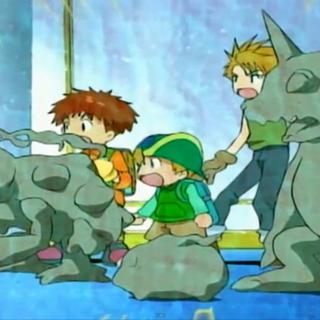 Kokatorimon versteinert die Digimon...
