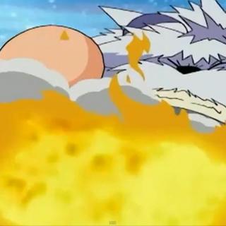 Greymon befreit Mojyamon vom schwarzen Zahnrad.