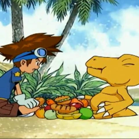 Tai zwingt seine Freunde Agumon ihr ganzes Essen zu überlassen.