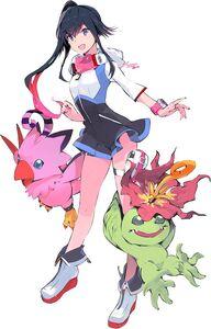Shiki, Biyomon, and Palmon (next 0rder) b