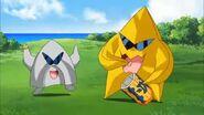 Starmon y Pickmon (rebelde) comiendo DigiNoir