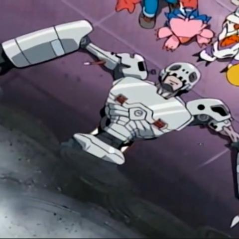 Andromon ist unter einer Maschine eingeklemmt.