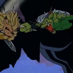 Im Kampf hält Ogremon Devimon den Rücken frei.