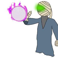 Majinmon usando <b>Magia oscura</b>.
