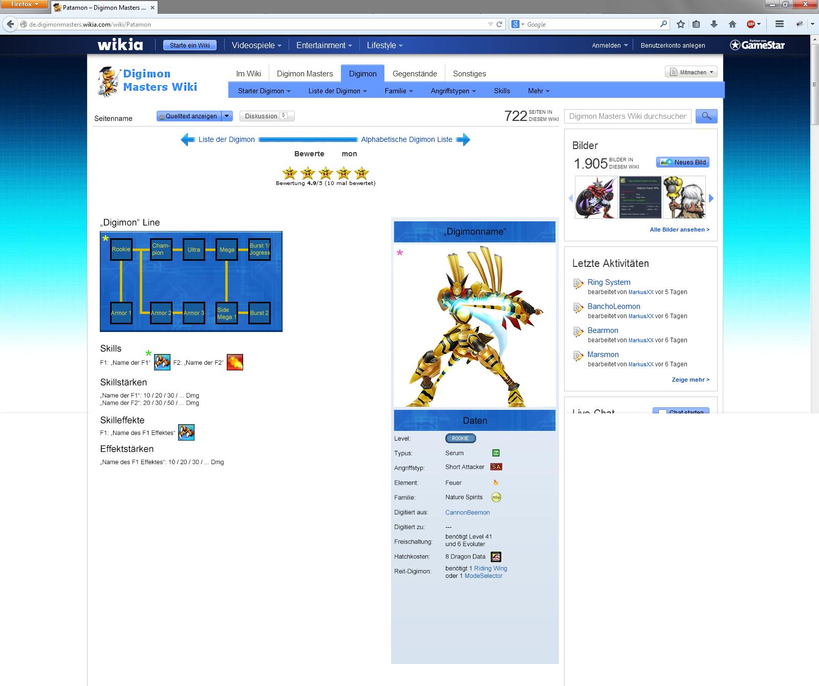 Neues Layout für die Digimon Seiten in der DMO Wikia