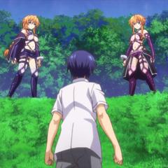 Yuzuru and Kaguya being interrupted by Shido's appearance