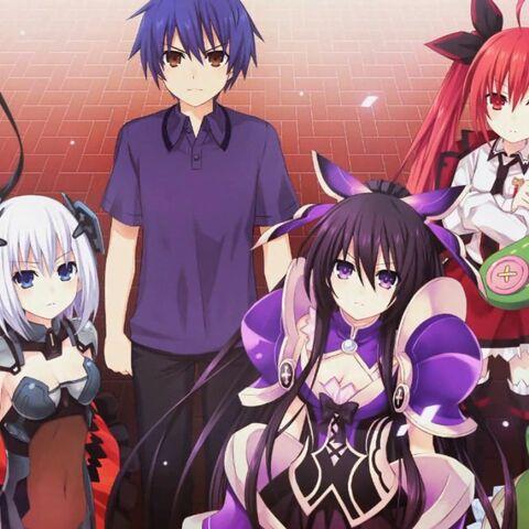 Kurumi with Origami, Shido, Tohka, Kotori and Yoshino