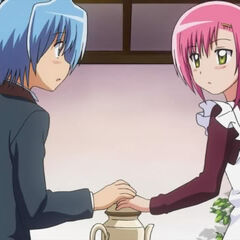 Hinagiku and Hayate accidentally touching their hands together