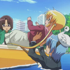 Hayate catching Nagi before she falls into the lake