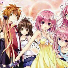 Rito, along Yami, Mikan, Momo, Nana and Lala, on a cover artwork for To Love-Ru Darkness