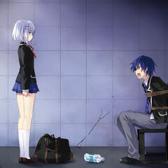 Shido being held captive by Origami