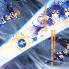 Tohka and Shido using <Sandalphon> to stop the Yamai Sisters from fighting