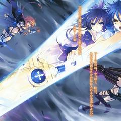 Shido and Tohka using Sandalphon to stop Kaguya and Yuzuru from fighting