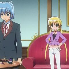 Hayate looking over the items Nagi is bringing to Shimoda