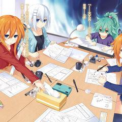 Yuzuru, with Origami, Kaguya and Natsumi, working on their doujin