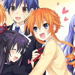 Shido with Tohka, Kaguya and Yuzuru clinging to him, with Miku being left out