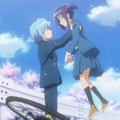 Hayate saving Ayumu during their first encounter (2nd Season version)