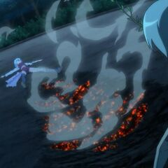 Hayate lays defeated during his battle against Yukiji