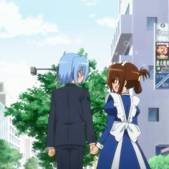 Hayate with an embarrassed Maria, with Ayumu spying on them