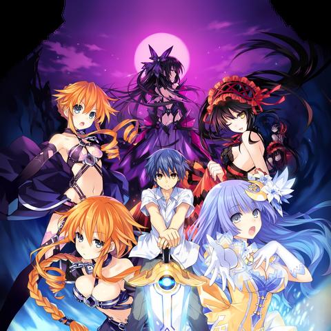 Kurumi, along Shido, Miku, Kaguya, Yuzuru and Inverse Tohka, on a promotional image for Date A Live II