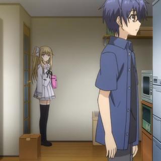 Shido, before noticing Mayuri in the kitchen