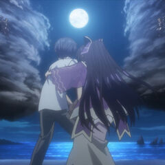Shido and Tohka after interrupting the Yamai Sisters' duel