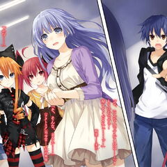Shido confronting Origami, Miku, Kaguya and Kotori to find out which of them is Natsumi in disguise