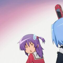 Yukiji's PSP landing on Hayate's head during the exam