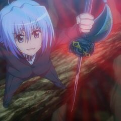 Shin, in Hayate's body, activating the Kuroysobaki's sword form in front of Dolly
