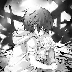 Shido (in his age five years ago) comforting a young Origami from five years ago after losing her parents