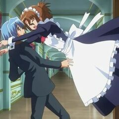 Hayate about to catch Maria after she is spooked