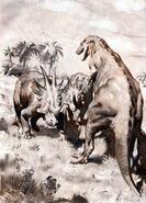 Styracosaurus vs gorgosaurus by zdenek burian