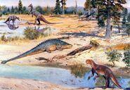 Saurolophus pinacosaurus psittacosaurus by zdenek burian 1971