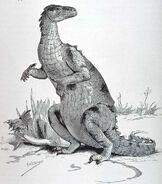 Iguanodon on its Haunches, 1896
