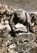Gorgosaurus & scolosaurus by zdenek burian 1955