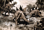 Ceratosaurus & stegosaurus by zdenek burian 1941