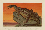 Antique Dinosaur Print Iguanodon 1900