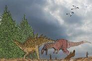 Yangchuanosaurus shangyouensis et Tuojiangosaurus multispinus