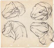 Fantasia Rite of Spring T-Rex Model Sheet Drawing Walt Disney, 1940