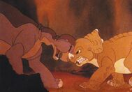 The land before time Cera and Littlefoot fighting