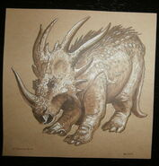 Disney World Animal Kingdom Styracosaurus 5 x 5 Collectible Dinoland Card front
