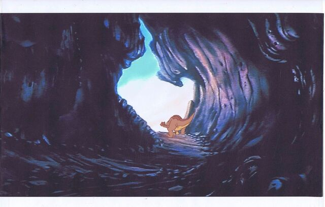 File:Land Before Time Original Production LITTLEFOOT Cel & Copy Bkgd -A033.jpg