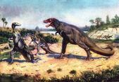 Trachodon & tyrannosaurus by zdenek burian
