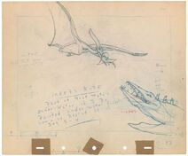 Pterodactyl and Dinosaurs production drawing from Fantasia