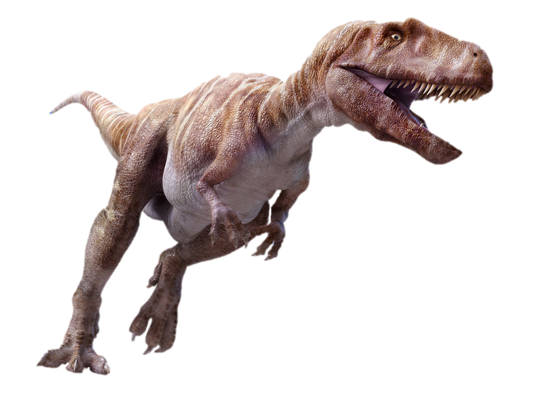 Against A Backdrop Of Mountains And Forests The Dinosaur Gosaurus Threateningly Stands Behind Three