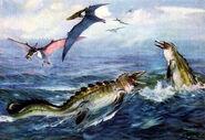 Pteranodon & tylosaurus by zdenek burian 1941